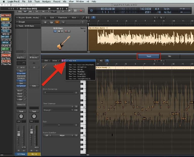 Fig 1 Enabling Flex Pitch in Logic's track Editor pane