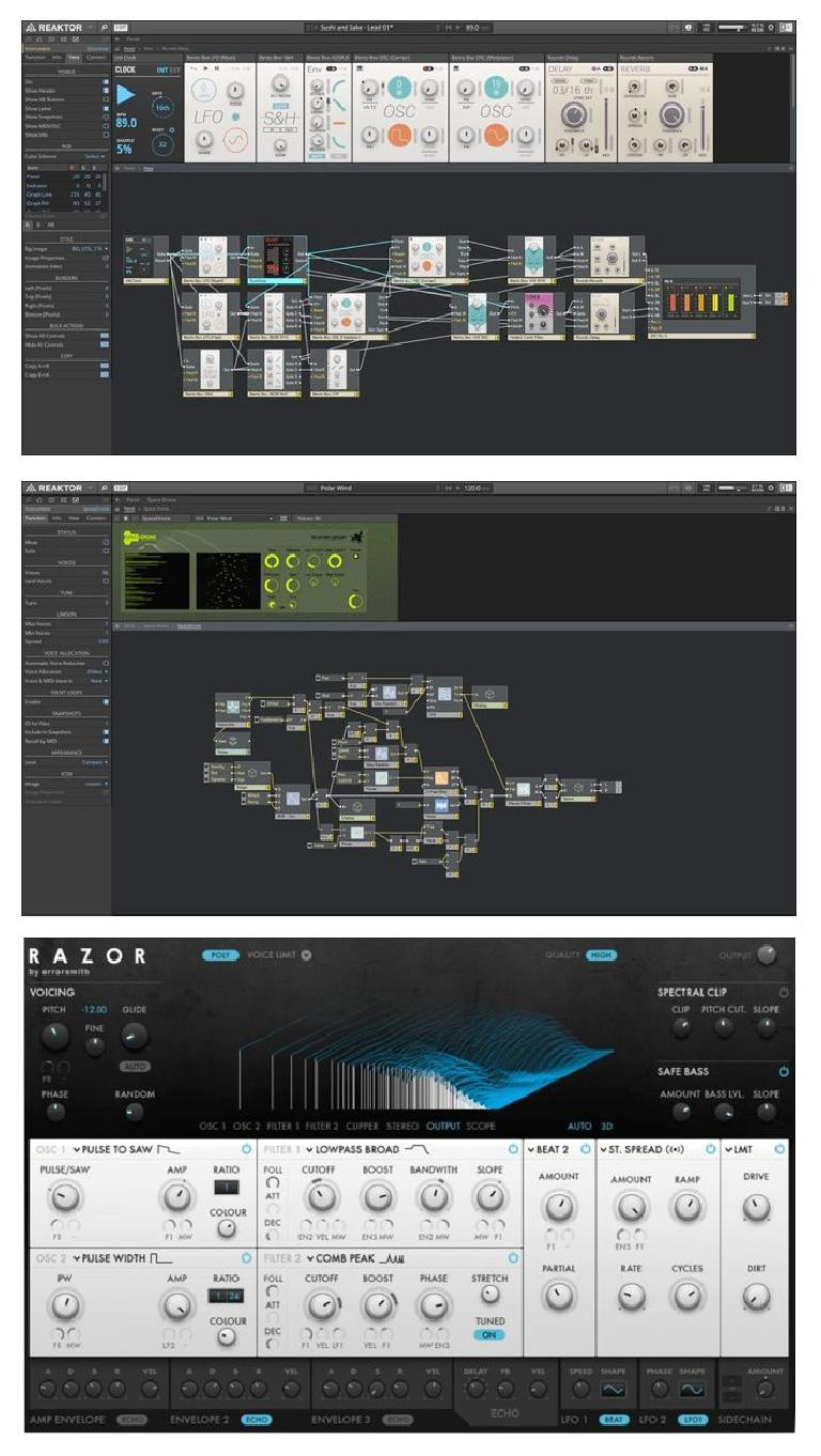 Fig 3 A couple of NI Reaktor patches (top, middle) and a finished ensemble front panel (bottom)