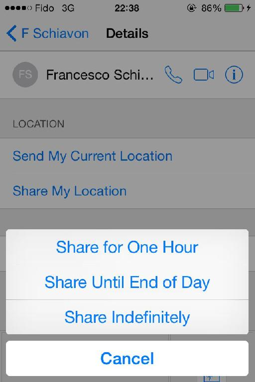 Sharing your location in iOS 8.