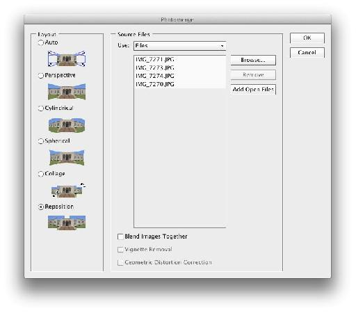 The Photomerge dialog in typical use.