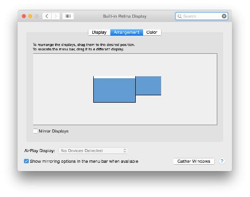 System Preferences > Displays shows the expected 2 screens.
