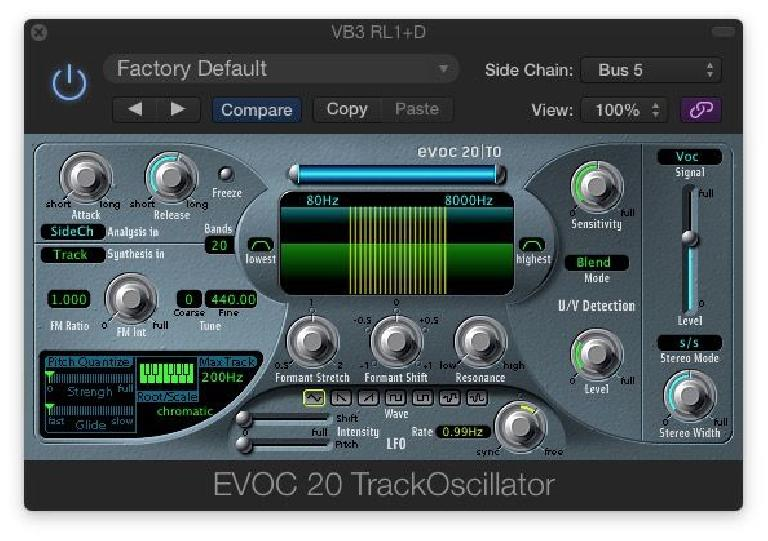 Fig 4 The EVOC 20 TrackOscillator lets you Vocode the Instrument of your choice