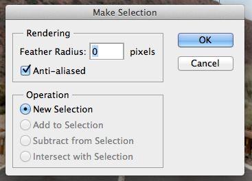 Make Selection dialog box.
