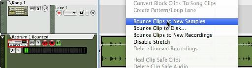 Bounce clips to new samples