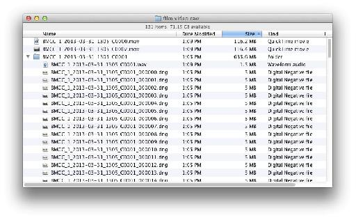 The comparative file sizes of DNxHD, ProRes and RAW for just over 5 seconds of footage