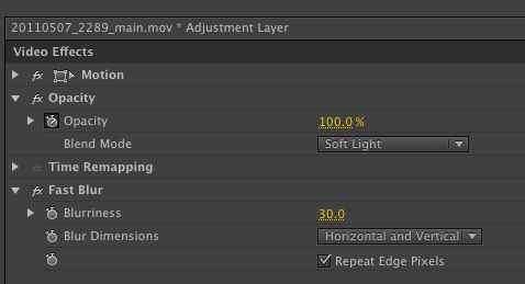 Adjustment layer settings.