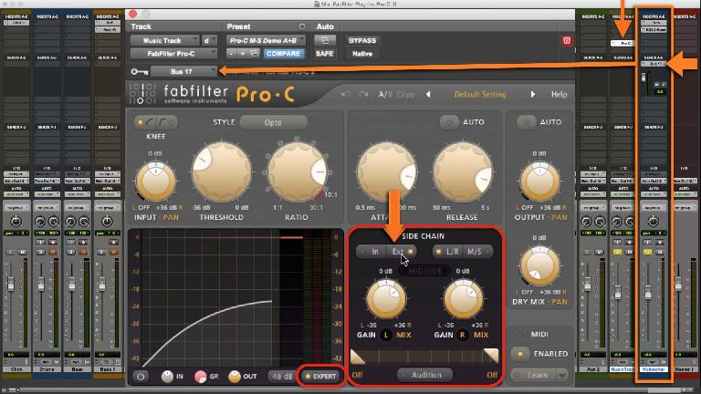 Fig 4 Pro-C set up with a sidechain input in the Expert control section for Ducking music under a voiceover.