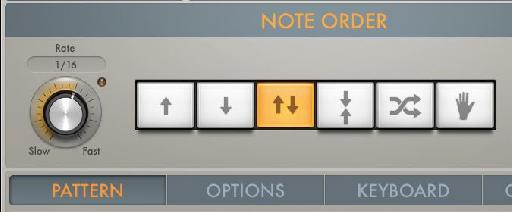 The note order settings in Logic X's arpeggiator.