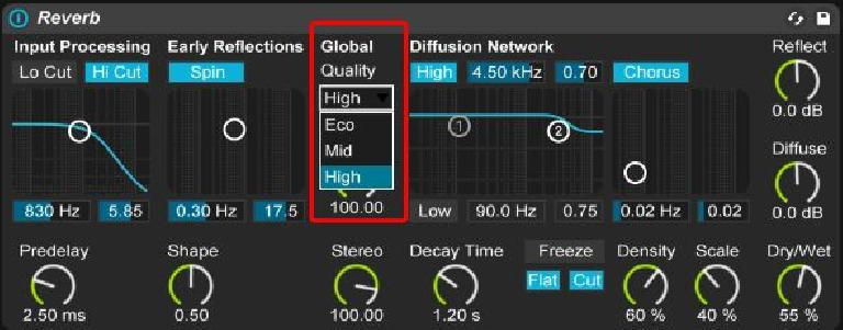 Reverb's Global Quality setting