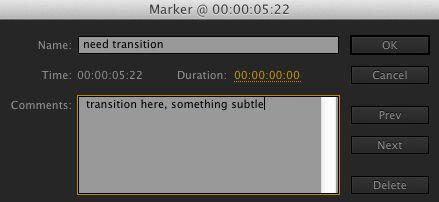 Marker dialog box.