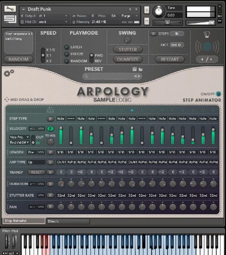 Sample Logic Arpology interface