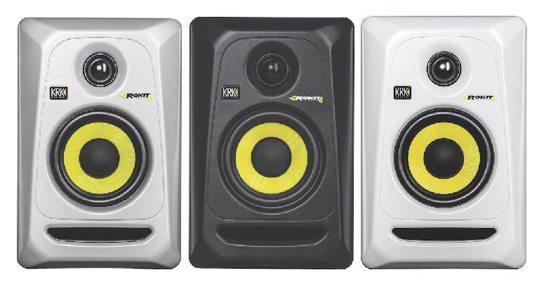 All three colors of the new KRK Rokit G3 monitors.