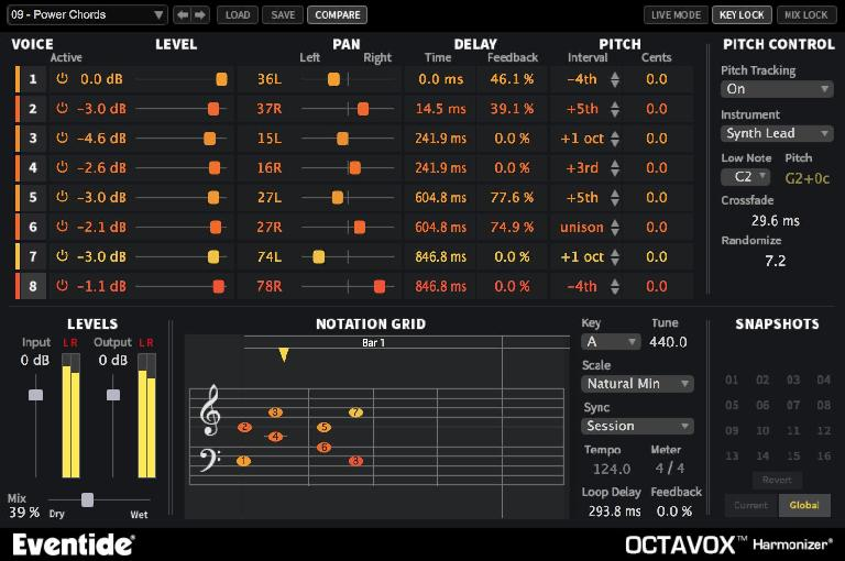 A syncopated four-chord delay pattern on Octavox.