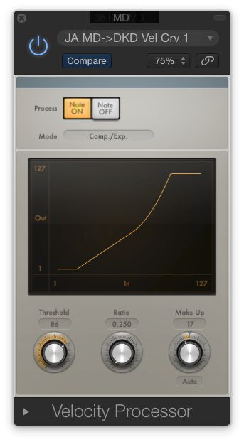 Fig 3 Logic's Velocity Processor MIDI Plug-In can scale Velocity values to improve playing dynamics and response of a Virtual Instrument.