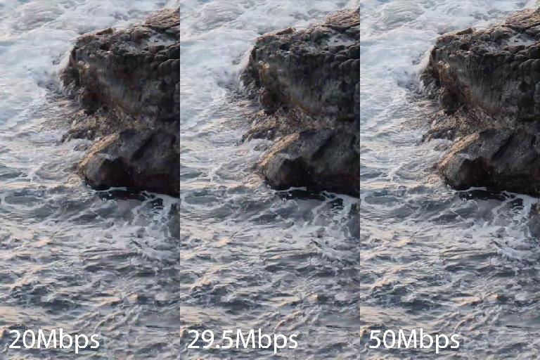 This crop of the same frame of 4K video shows clear degradation at lower data rates