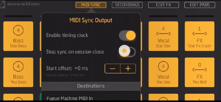Launchpad for iPad: MIDI Sync Output options panel.