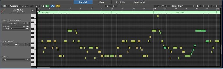 The Velocities of the converted MIDI notes are shown as different colors in Logic's Piano Roll Editor