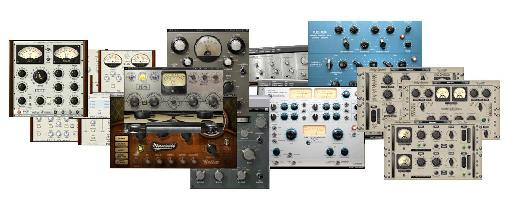 Various analog-modeling plug-ins from (L->R) PSP, Waves, Softube, and Nomad Factory.