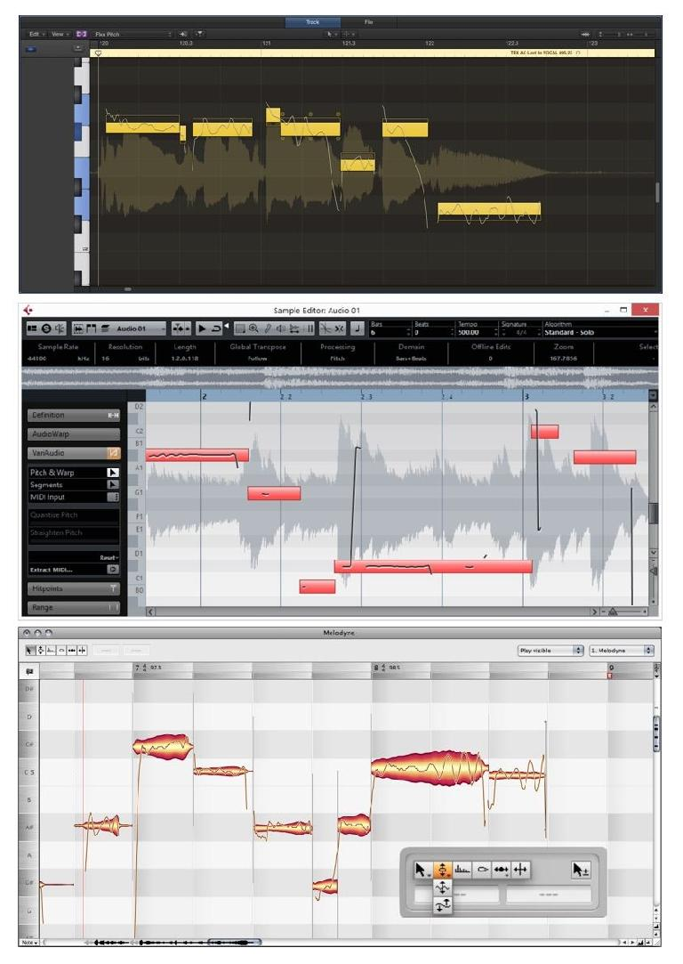 Editing features in Logic, Cubase, and Melodyne