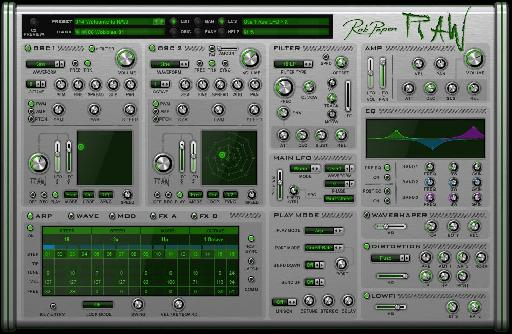 Rob Papen RAW Arpeggiator page