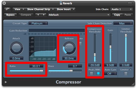 Typical compressor settings for ducking reverb