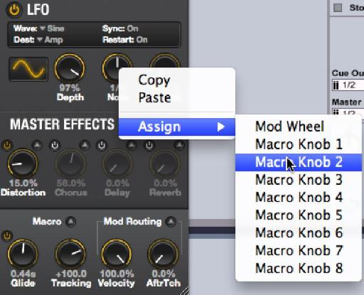 Macro Knob 2 controls LFO rate.