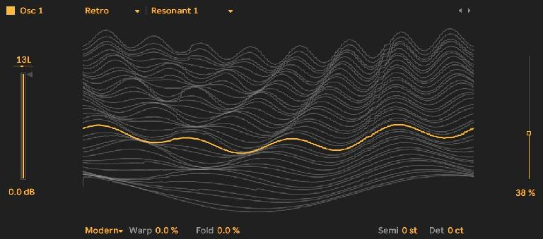 The Resonant 1 Wavetable from the Retro collection, visualized