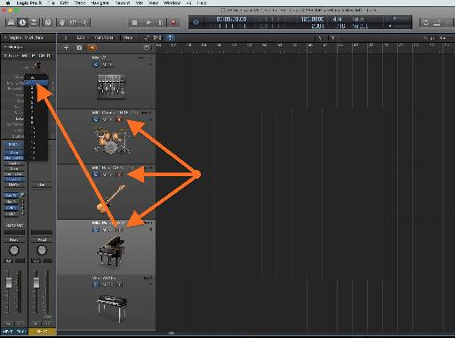 Fig 6 Setting the (receiving) MIDI Channel for a Logic Instrument, in the Track Inspector pane