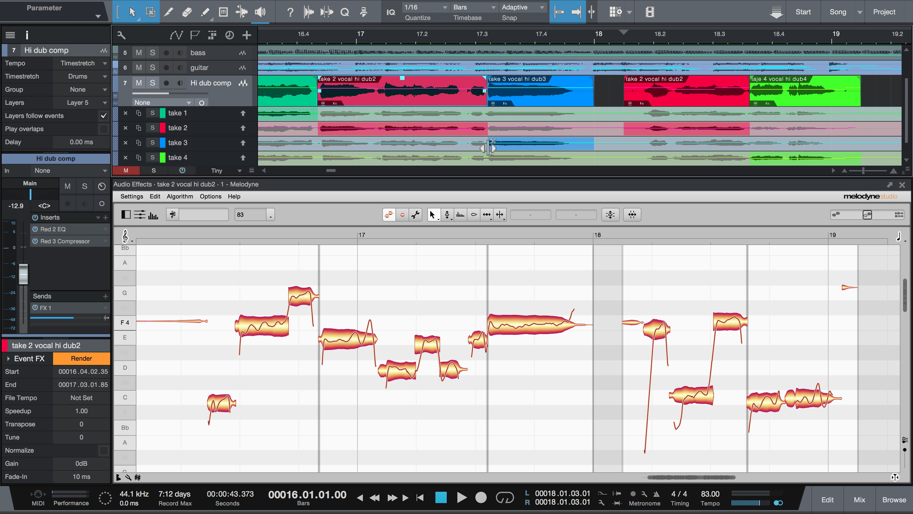 Melodyne 4.1: New functions make comping with ARA integration much simpler and faster – here in Studio One