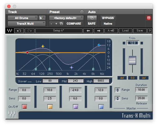 Fig 3 Tweaking individual drums in a full drumkit track with Waves' Trans-X Multi multiband transient shaper