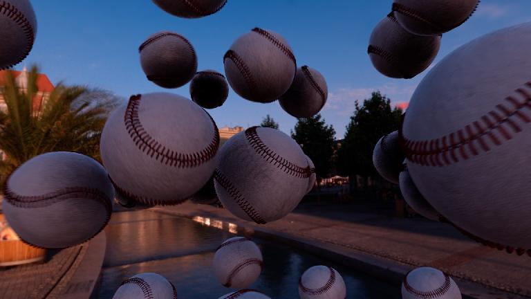 A whole heap of instanced baseballs throwing themselves around in front of an environment