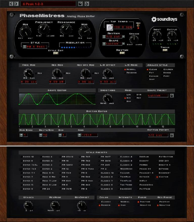 Full-featured effects like Soundtoys' Phase Mistress offer more comprehensive user control