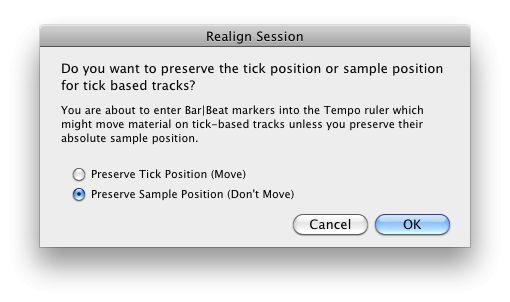 You will get this warning if you attempt to create a new tempo event when audio tracks have a tick timebase