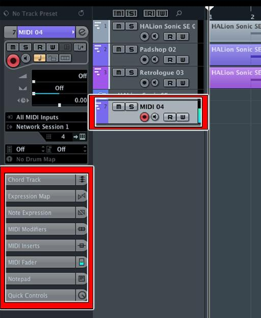 Figure 6: The selected MIDI track (upper box, record-enabled) and default Inspector tabs.