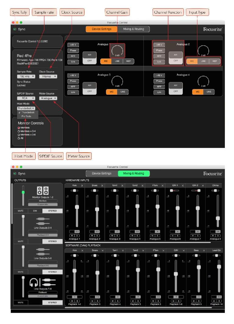 Fig 7 The Focusrite Control utility