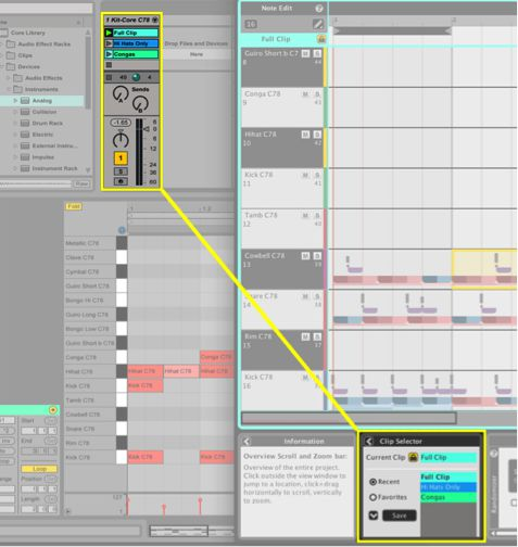 Clip Selector translates all clip information from Ableton Live 9 into Liquid Rhythm.