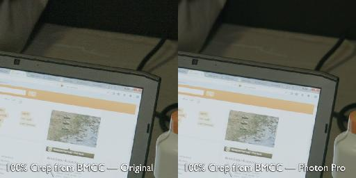 Blackmagic Cinema Camera footage showing great detail retention, before and after Photon Pro.