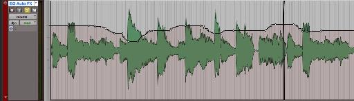 Fig 1 Automation data (Channel Fader) in a track in Pro Tools.