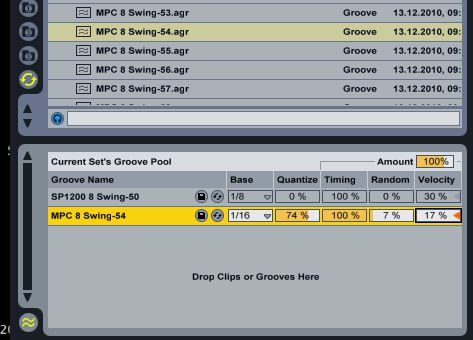 Adjusting a grooves parameters