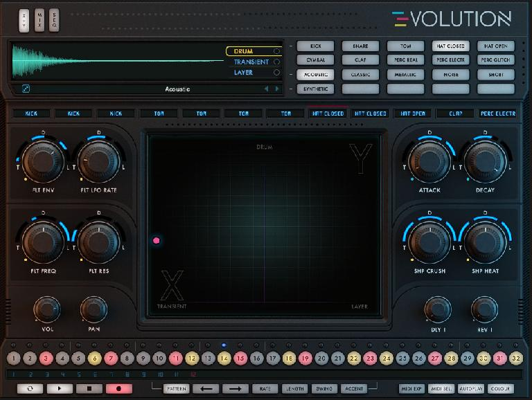 Evolution's X + Y mixer area with macros assigned for the Hat Closed voice, with sequencer lane visible along bottom.