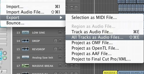 Export all track as audio files
