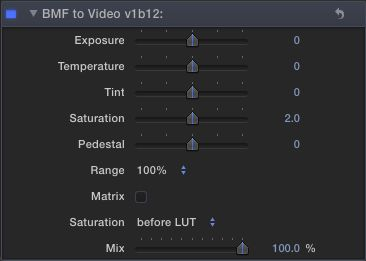 The BMF to Video sliders, with just the Saturation and Matrix tweaked.