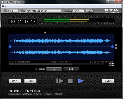 Tascam Hi-Res audio editing software interface.