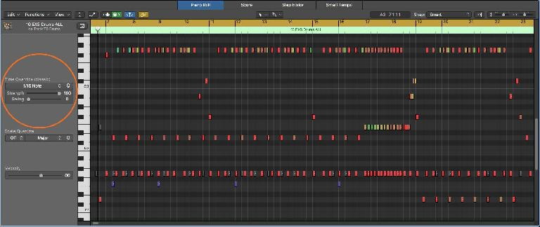 Quantization options in the Piano Roll Editor