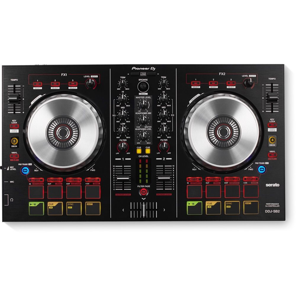Top view of the Pioneer DDJ-SB2 controller for Serato DJ.
