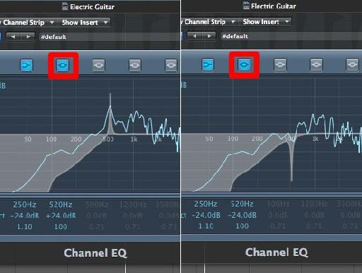 Resonance found at 520 Hz, and on the right, removed!