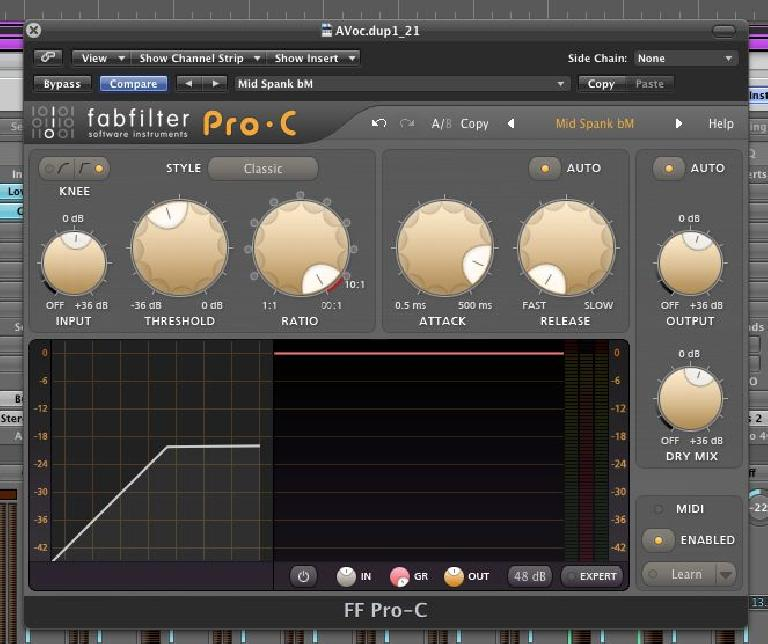 (Pic 3b) Fabfilter's Pro-C compressor uses a very clear Ratio control.