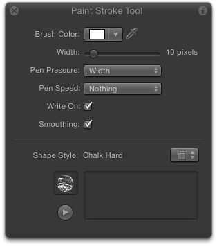 The HUD's options with the Paint Stroke Tool selected