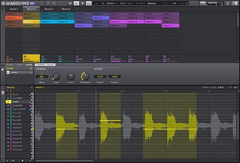 Maschine 2.7 real-time time stretching for audio.