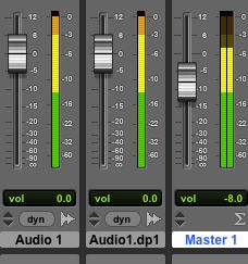 Reducing the Master fader level prevents the summed signals clipping the output